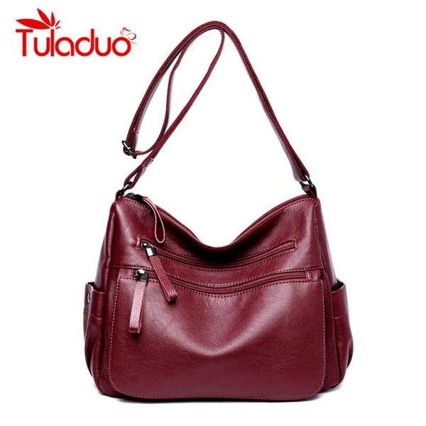 Steven Brand High Quality Leather Large Capacity Ladies Designer Bag Black Double Zippers Crossbody Bag Shoulder Bags Flap