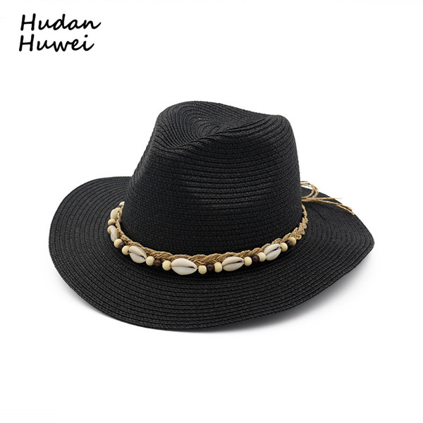 Yaz Kadın Straw Caz Şapka Püskül Kabuk Şerit ile Bayanlar Fedoras Şapkalar Açık Plaj Sunhat Parti Düğün Resmi Panama Şapka