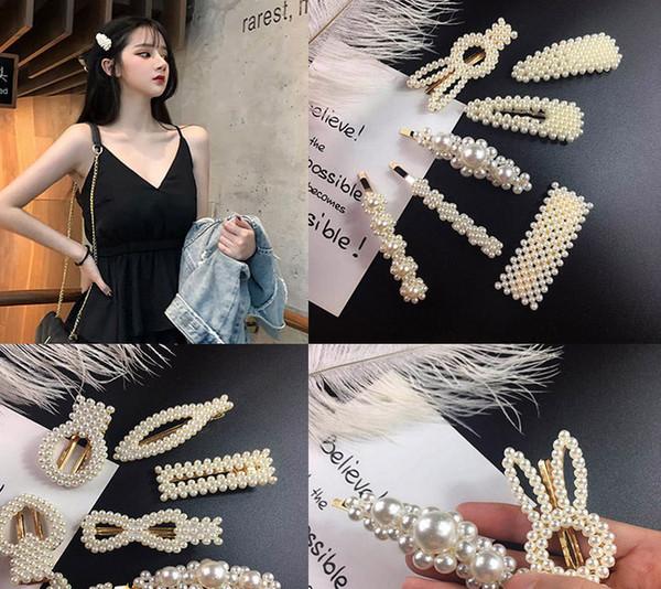 2019 nuevos 32 estilos perlas pinzas para el cabello moda horquillas mujeres niñas Barrette accesorios para el cabello hechos a mano para la boda de regalo de Navidad M048F