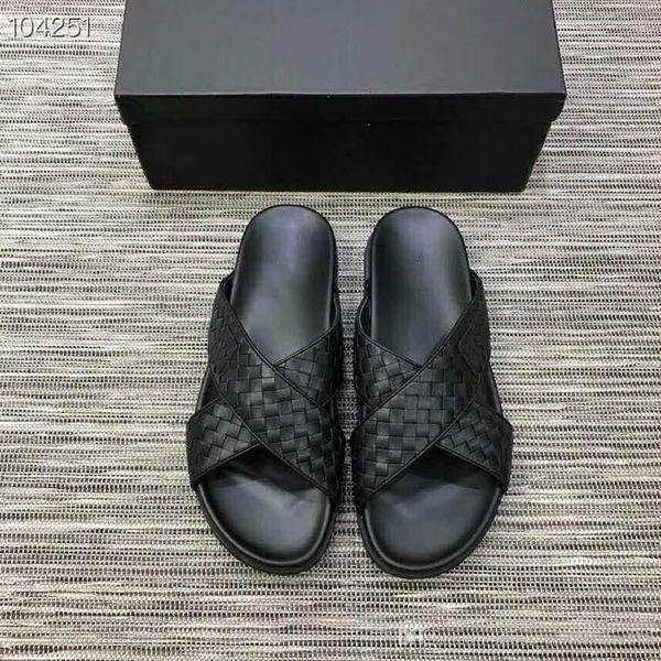Мужские кожаные сандалии из скользкой ткани, черные шлепанцы, спортивные тапочки, размер 38-45
