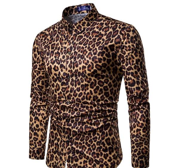 Mode Nightclub imprimé léopard chemise concepteur hommes robe chemise concepteur des hommes CHEMISE Chemise Homme