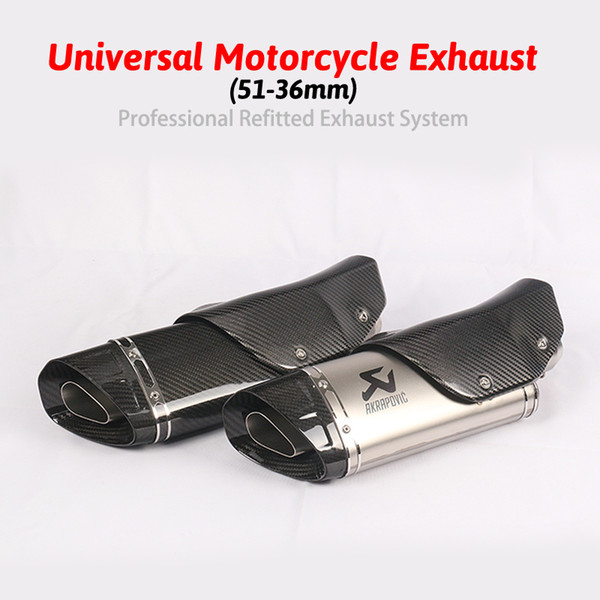 Inlet 51mm Motorcycle Exhaust Pipe Akrapovic Carbon Fiber Motorbike Muffler Pipe Escape Universal for R1 R6 R15 R25 R3 FZ1N etc