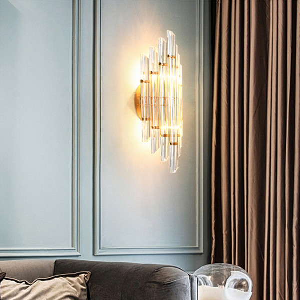 Modern luxury crystal wall lamps living room corridor bedside wall sconces light gold finish creative wall mount led lighting fixtures