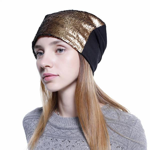Hat Reversible Magic Sequins Beanie Hat 4 Colors Mermaid Skully Caps Women Winter Outdoor Sequin Hats CNY977