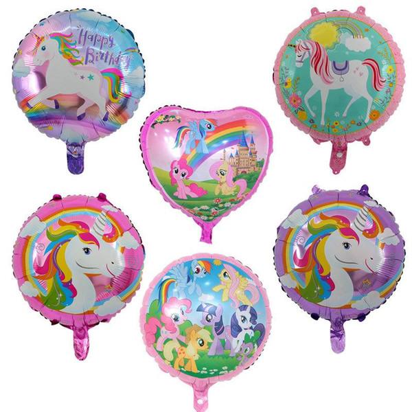 18 '' Alüminyum Kaplama Unicorn Balonlar şişme 46 CM doğum günü Balonlar parti Dekor Düğün Noel Noel Yenilik Gag Cadılar Bayramı Ço ...