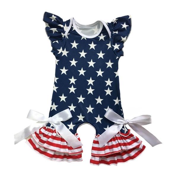 Ropa infantil patriótica Ropa recién nacida en el 4 de julio Vestido de bebé Mameluco Manga aleteo Capris Pierna Bebé Mameluco mono J190524