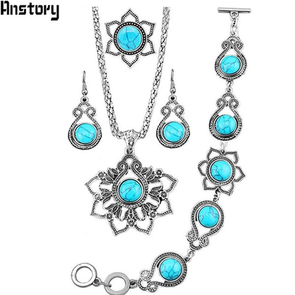 ashion jewelry set Maple Leaf Pendant Stone Jewelry Set Necklace Bracelet Earrings Ring For Women Vintage Antique Silver Plated Fashion ...