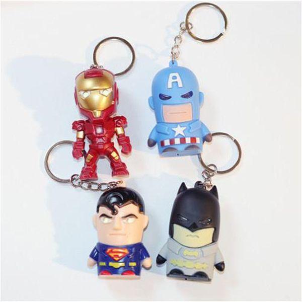Super Hero Figurines Iron Man Clé Boucle Sac Décor Pendentif Illuminé Vocalization 6 Styles Nouveau 2 9mh D1