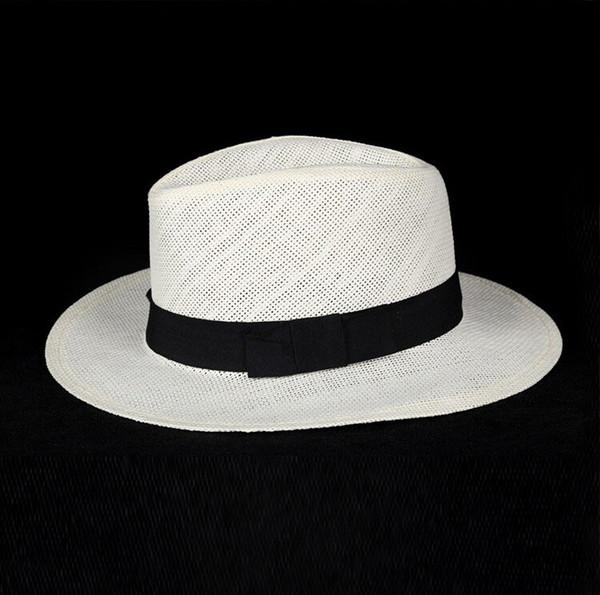 Unisex Fashion summer straw hat fedora beach sun hat solid white classic jazz panama hat straw hats For Women Men Free Shipping