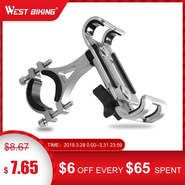 WEST BIKING Alloy Holder For 3.5-6.5 Inch Mobile Phone Stand Bicycle Mountain Road Bike Phone Holder Smart Handlebar Mount #80269