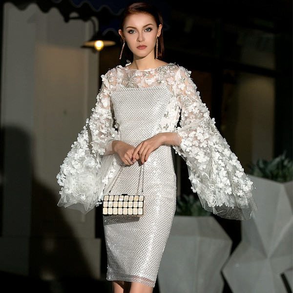 20df9febb3d29 2019 New Banquet Evening Dress Elegant Dignity Party Dress Womanishly  Fashion Embroidery Petals Flare Sleeve Hollow Out Party Dress From  Melinayaoyao, ...
