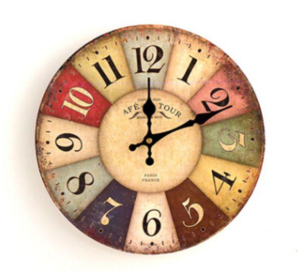 top popular Quartz Wall Clocks Antique Style Clock European Style Fashion Creative Vintage Silent Wooden Clock Living Room Bedroom Decoration 2020