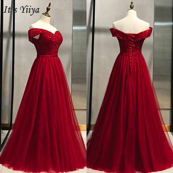 It's Yiiya Evening Dress 2019 Elegant Burgundy Off Shoulder A-Line Party Dresses Crystal Lace Up Formal Dresses Plus Size E968