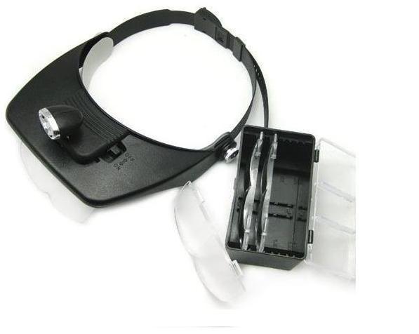 Freeshipping 4 lentes Head Magnifier LED Head Light Light faro lupa