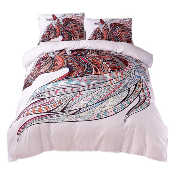 Horse Bedding Set Hd Print Tribal Horses Duvet Cover Set Twin Full Queen King 3Pcs Bedding Size 5