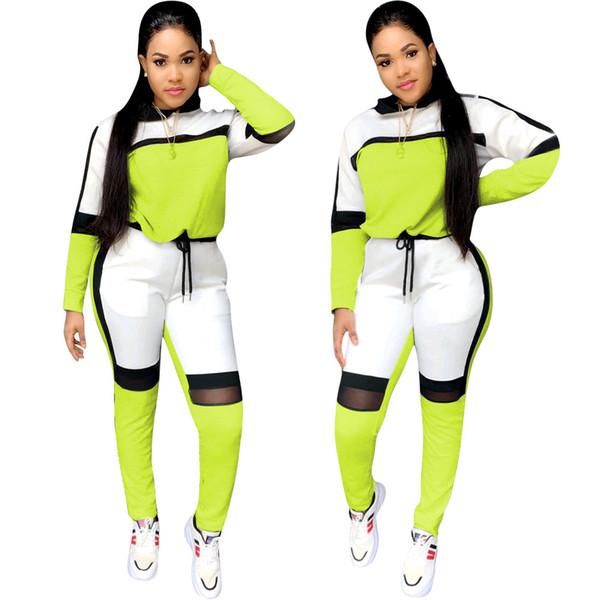 Tute sportive con cappuccio a maniche lunghe da donna autunno inverno 2019 all'ingrosso top pantaloni da jogger vestito due pezzi abiti set tuta sportiva di moda