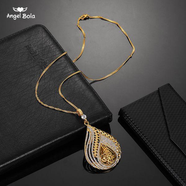 Collar de metal musulmán con moneda islámica para turcos Color oro Pendiente árabe Oriente Medio Joyería árabe Rhinestone turco para mujeres