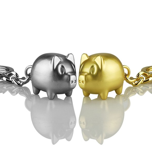 New Year Cute Blessing Pig Keychain Gold and Silver Metal Key Chain Pendant Holder Lovers Gifts Accessories Key Ring J1835