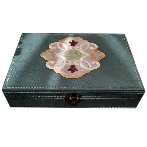 Hand-Embroidered Jewelry Box Tray Necklace Ring Earring Display Box Velvet Jewelry Storage Bead Container Storage
