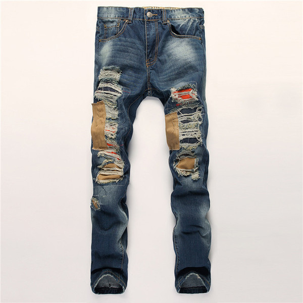 2019 Men Ripped Patchwork Jeans New Fashion Mens Simple Summer Autumn Jeans Mens Casual Solid Classic Straight Denim denims Plus Size