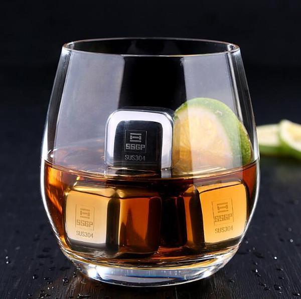 Cubetti di ghiaccio riutilizzabili in acciaio inossidabile in metallo Pietre di raffreddamento per Whisky Wine Bar Forniture KTV Magia Wiskey Vino Birra Cooler Alla rinfusa Massima qualità