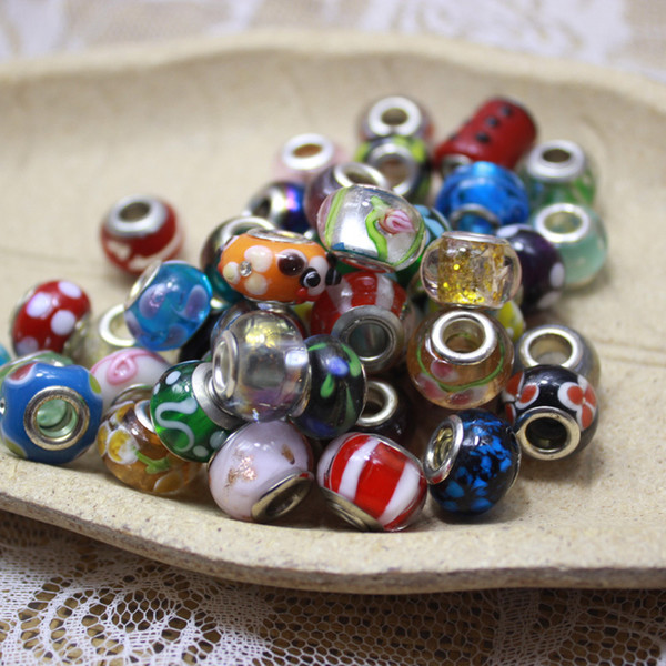Multicolor Flower Loose Beads Jewelry Accessories Glass Lampwork Charm Bead for European Flowers Big Hole Fit Necklaces Bracelets DHL