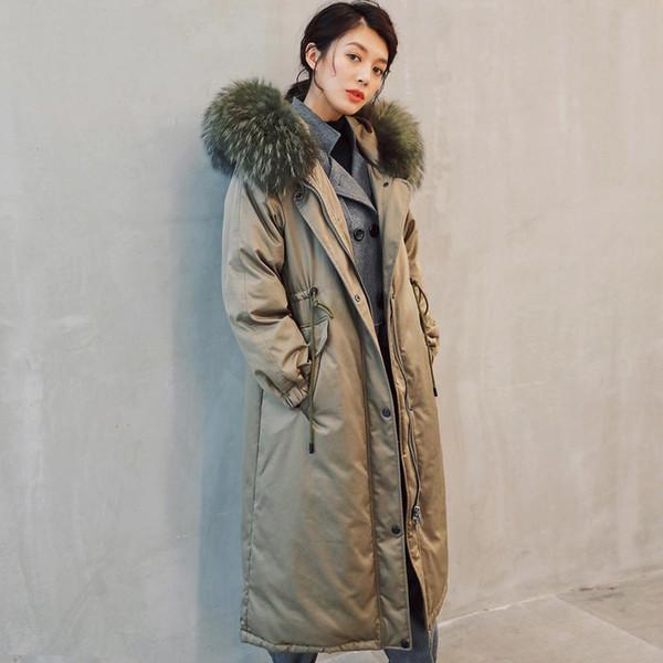 -30 Derece Kalın Aşağı Sıcak Ceket Parkas Gerçek Rakun Kürk Yaka Kadın Kış Coat Duck Aşağı Doldurma Gevşek Kadın Palto G763