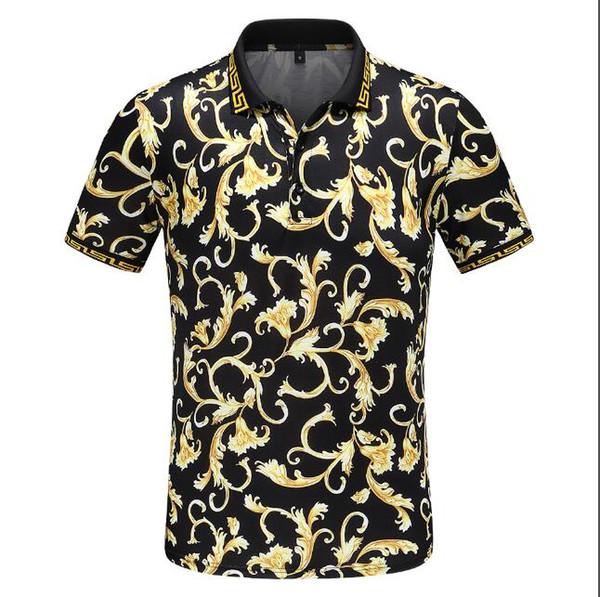 Роскошные итальянские дизайнерские футболки поло в полоску Роскошные змеиные поло с цветочной вышивкой мужская футболка поло для лошадей High Street fashion # 4406