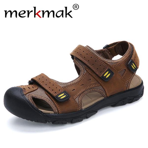 Merkmak 2018 New Fashion Summer Shoes Cow Leather Men Sandals Mens Casual Outdoor Sandal Rubber Sole Beach Shoes Plus Size 47