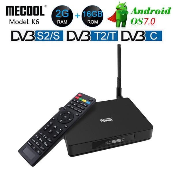 MECOOL K6 DVB-T2 DVB-S2 Smart Android 7.0 TV Box Hisilicon HI3798M Quad Core 2GB RAM 16GB eMMC 4K Decoder Box DVB-C Media Player