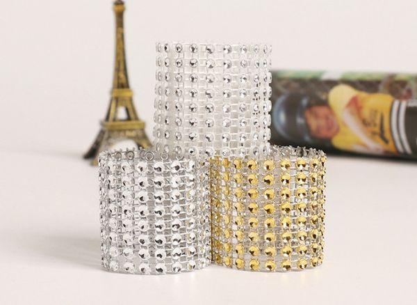 8 rows Rhineston napkin rings plastic napkin buckle charm Mesh Wrap Napkin Ring Serviette Holder hotel wedding table decor 50lots AAA1845