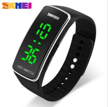 Skmei 1119 Green Led Light Pu Plastic Strap 5atm Waterproof Men's And Women's Bracelet Watches Hot Sales