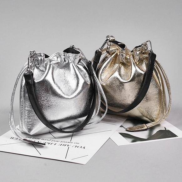 Women Mini Drawstring Bucket Bag Fashion Woman Travel PU Glitter Shoulder Bags Small Casual Cosmetic Cross body Bag LJJT475