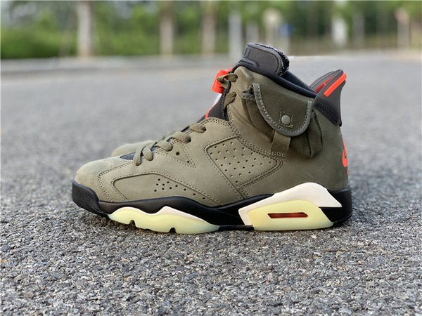 2019 Authentic Air 6 Travis Scott Cactus Jack Suede Glow 3M Reflective Olive Army Green Basketball Shoes Men 6s Sneakers With Box