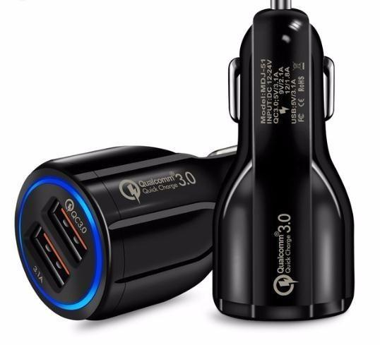 top popular Quick Charge 3.0 Car Charger For Mobile Phone Dual Usb Car Qualcomm Qc 3.0 Fast Charging Adapter Mini Usb Car Charger 2021