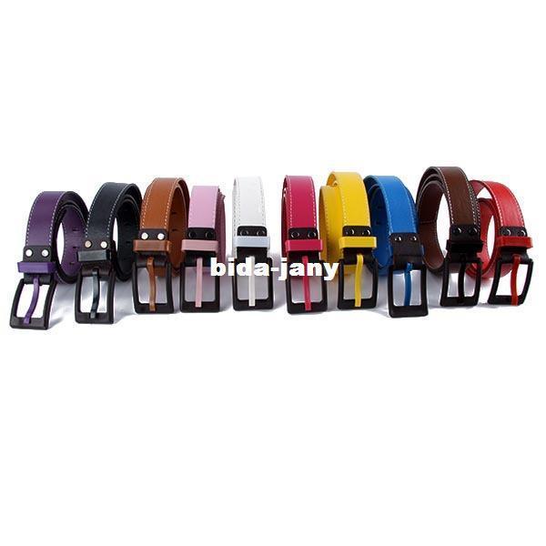 2016 Moda Unisex Cinturón de Cintura de Las Mujeres de Los Hombres de Cuero de Imitación Hebilla De Plástico Cinturón Correa Envío gratis