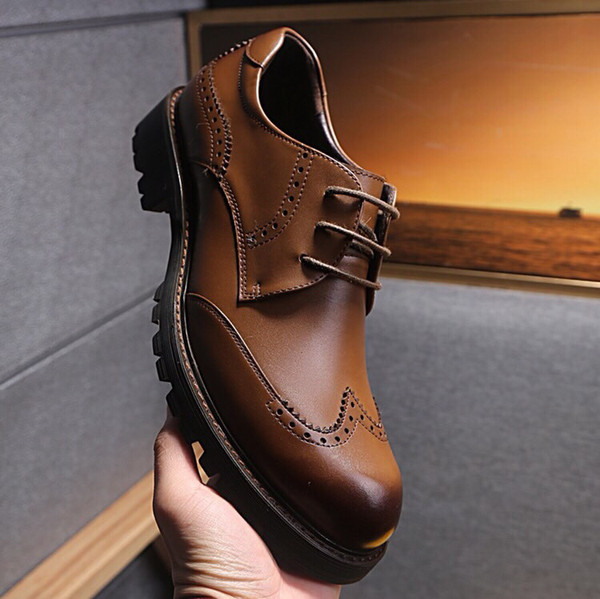 New arrival designer men black/brown cutout genuine leather oxfords,brand fashion business wedding dress shoes 38-44 drop shipping