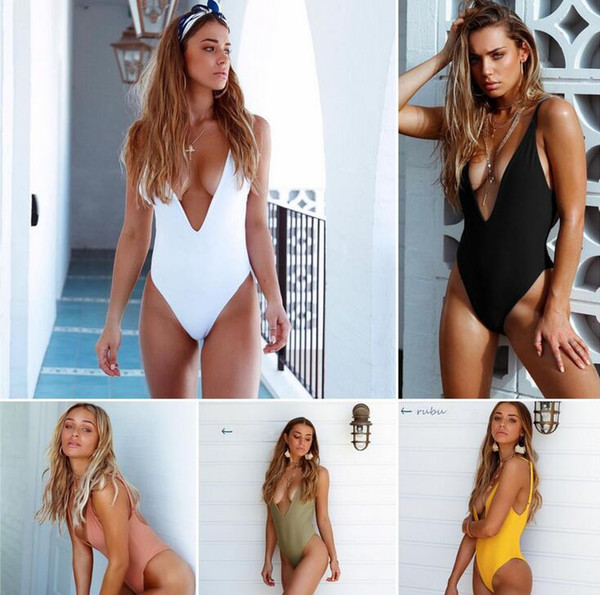Black White Solid One-piece Swimsuit Women Bikinis V Neck Sexy Monokini Bodysuit Ladies Beach Bathing Suit Swimwear Women Beachwear EOS877