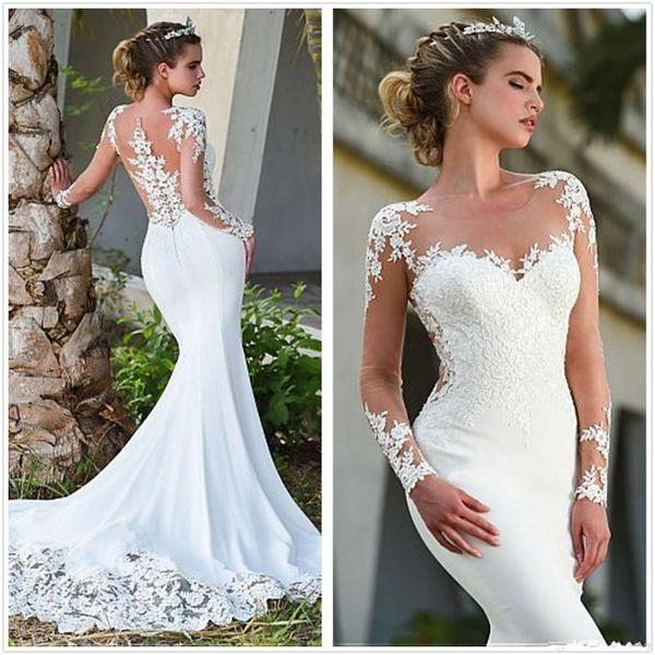 Düğmeler elbiseler de mariée ile Saten Mermaid 2020 Gelinlik Şeffaf Uzun Kollu Tül Dantel Aplike Sweep Tren Gelinlik Çarpıcı