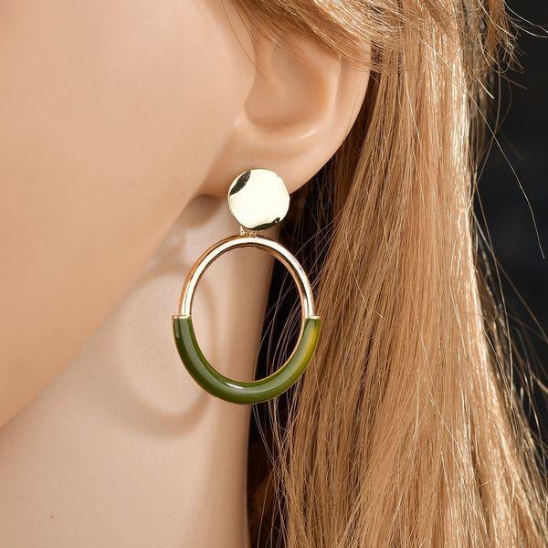Japan and South Korea fashion simple geometric circle circle pendant earrings female personality wild temperament ring earrings gift