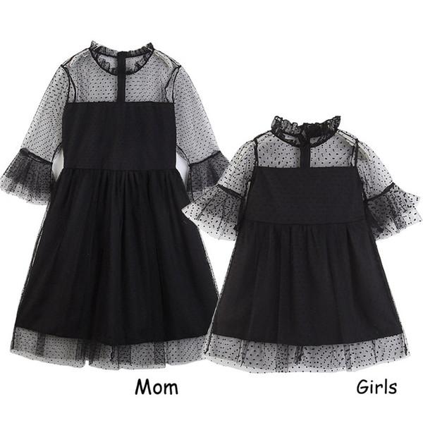 Schwarze Punkte der Mutter und der Töchter Spitzenkleider Art und Weise süße 2-7t Kinderfamilie, die Kleidung zusammenbringt