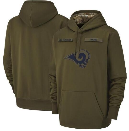 2018 Men Women Youth Los Angeles Sweatshirt Rams Salute to Service Sideline Therma Performance Pullover Hoodie Olive