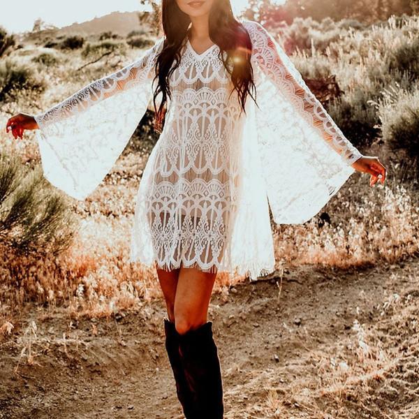 Robe d'été pour femme à manches longues longue flare de plage blanche évider bikini en dentelle florale camoufler garniture cils garniture pure pulls