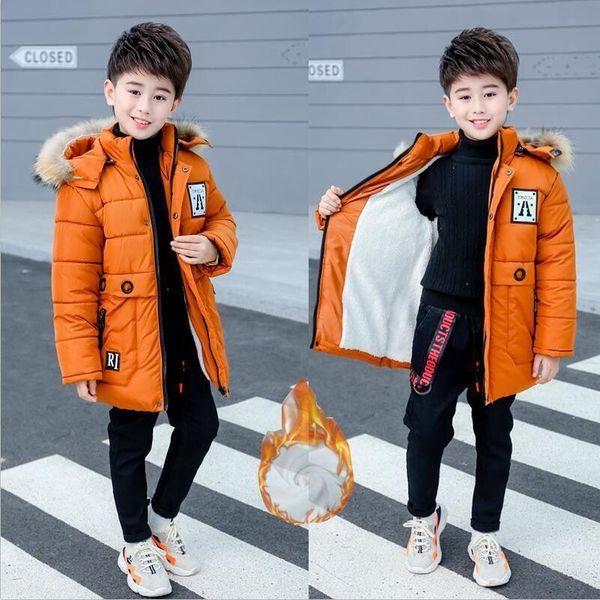 2019 Boys Winter Jacket Kids Coats Boys Winter Kids Coats Children Plus Velvet Thickened Long Cotton Jacket