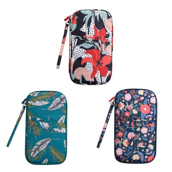 Unisex Floral Printed Travel Bag Wallet Purse Document Organizer Zipped Passport Tickets ID Holder Fashion 24.5x13.5cm