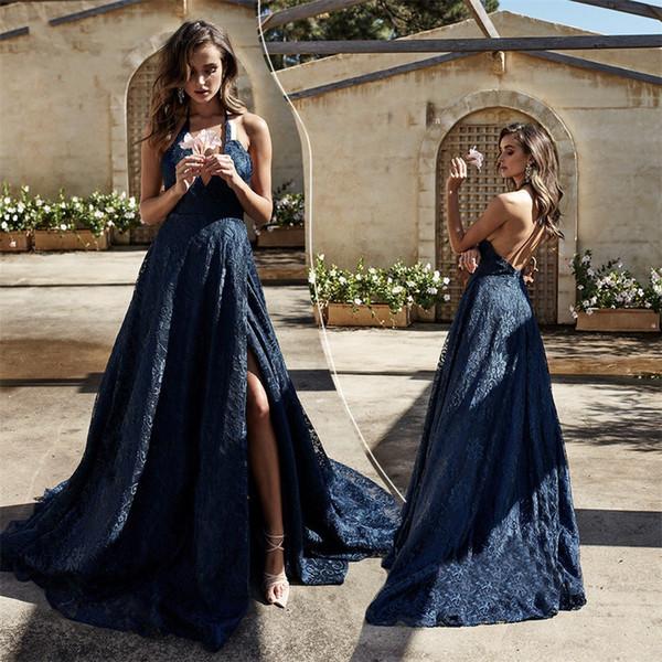 Dark Blue Halter V-neck Prom Dresses 2019 Expensive Nigerian Lace Side Split Dresses Evening Wear Cocktail Party Formal Gowns Robes De