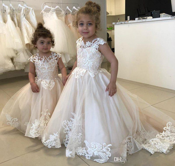 ZYLLGF 2019 Lovely Tulle Flower Girls Dresses Dubai Style Daughter Toddler Kids Pageant Formal First Holy Communion Gown For Country Garden