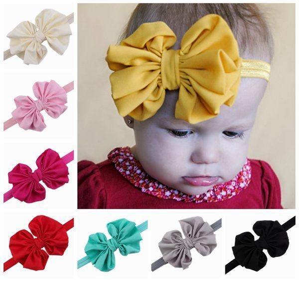 Kızlar için bebek şifon bantlar moda saç yaylar çocuk butik saç aksesuarları çocuk elastik saç bantları ilmek kafa bantları toptan