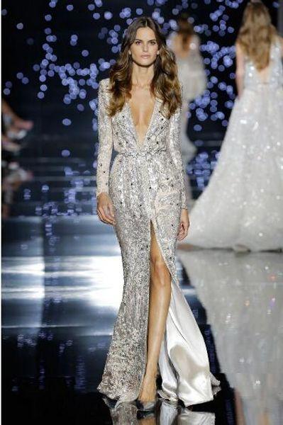 Evening dress Mermaid V-Neck Silver Sequines Split Long sleeve Star Appliques Yousef aljasmi Long dress Sheath