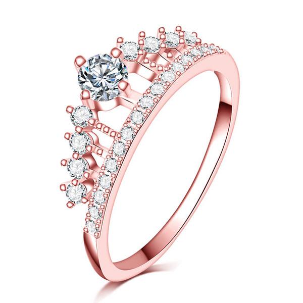 full Clear pietra zircone Princess Queen 18kRGP timbro rose gold filled Crown Ring da sposa da donna anillo